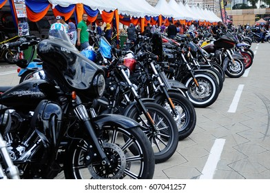 KUALA LUMPUR, MALAYSIA -FEBRUARY 25, 2017: Various model of Harley Davidson easy rider motorcycle parking in the open area during its owners gathering in Kuala Lumpur, Malaysia.