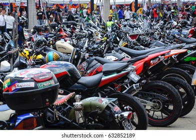 KUALA LUMPUR, MALAYSIA -FEBRUARY 25, 2017: Group of high performance big bike and super bike parking at the open area.