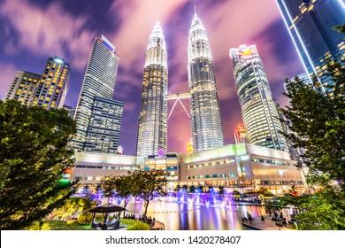 Kuala Lumpur, Malaysia - February 26, 2019: Petronas Twin Towers, landmark of Kuala Lumpur. Located in KLCC Park, Kuala Lumpur, Malaysia.