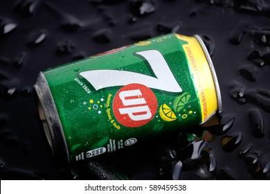 KUALA LUMPUR, MALAYSIA - FEBRUARY 26TH, 2017. 7 Up drinks on ice. This refreshment drink produce Pepsi company.