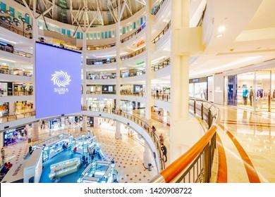 Kuala Lumpur, Malaysia - February 27, 2019: Suria KLCC Mall. Located in Petronas Twin Towers, Kuala Lumpur, Malaysia.