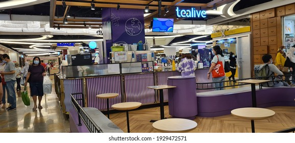 Kuala Lumpur, Malaysia - February 27, 2021 :Tealive store in a shopping mall, is a Chatime re-brand outlets. Tealive is a Malaysia local brand chain bubble tea, boba tea kiosk store