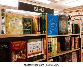 Kuala Lumpur, Malaysia - February 27, 2017: Various Islamic books on the shelves of local bookstores in Kuala Lumpur.