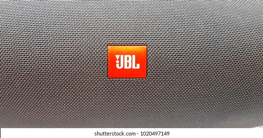 KUALA LUMPUR, MALAYSIA - FEBRUARY 3, 2018: Jbl logo, JBL is an American company that manufactures loudspeaker and associated electronics.