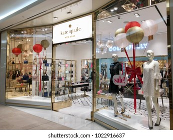 KUALA LUMPUR, MALAYSIA - FEBRUARY 4, 2018: Kate Spade store at The Garden Shopping Mall. Kate Spade New York is an American fashion design house founded in January 1993 by Kate Spade.
