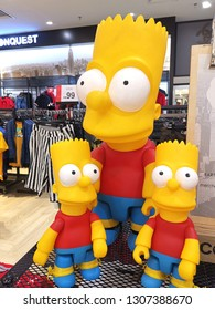 Kuala Lumpur, Malaysia- February 4, 2019: Simpson toys display in the shopping mall. The Simpsons is an American animated sitcom created by Matt Groening for the Fox Broadcasting Company.