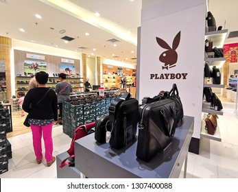 Kuala Lumpur, Malaysia- February 4, 2019: Playboy fashion outlet in the supermarket. Playboy Enterprises, Inc. is an American privately held global media and lifestyle company