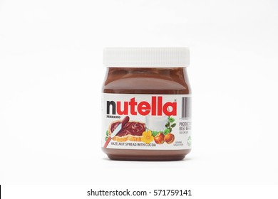 Kuala Lumpur, Malaysia - February 4, 2017: Nutella introduced to the market in 1964 by Italian company Ferrero, Nutella is widely popular brand name of a sweetened hazelnut cocoa spread