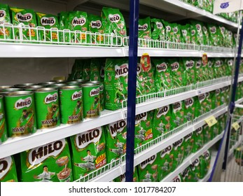 Kuala Lumpur, Malaysia - February 4th 2018 : Product of Milo on the shelf in hypermarket ready for sale. Milo is an energy drink produce by Nestle Malaysia.