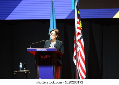 KUALA LUMPUR, MALAYSIA - FEBRUARY 8 : Malaysia Prime Minister, Najib Razak address an opening speech on the World Urban Forum in Kuala Lumpur, Malaysia on February 8, 2018.