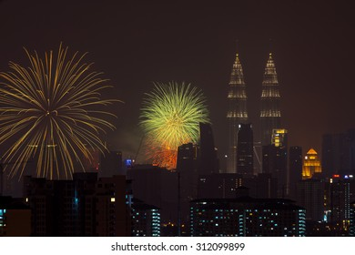 Kuala Lumpur, Malaysia. Kuala Lumpur with fireworks display during Merdeka (Independence) Day celebration on 31st August 2015.