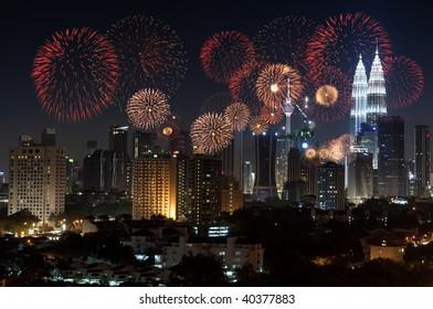 Kuala Lumpur, Malaysia. Kuala Lumpur with fireworks display.