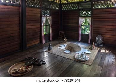 Kuala Lumpur, Malaysia - Jan 17, 2018 : Rumah Penghulu Abu Seman or Village Chief House. Interior view of a traditional malay house.