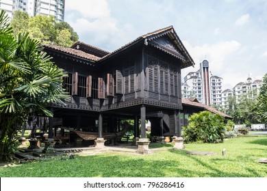 Kuala Lumpur, Malaysia - Jan 18, 2018 : Rumah Penghulu Abu Seman or Chief House. View of a traditional malay wooden house from Kedah.