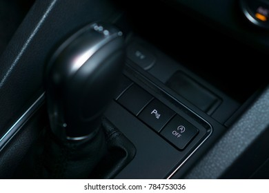 KUALA LUMPUR, MALAYSIA - JAN 2, 2018: Volkswagen DSG gear knob. Volkswagen is a German automaker founded in 1937, headquartered in Wolfsburg, Germany. It is the largest automaker worldwide currently