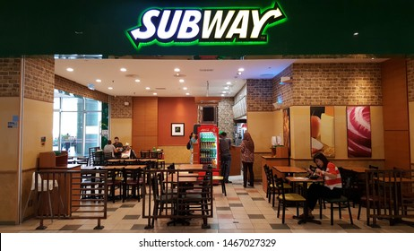 Kuala Lumpur, Malaysia - Jan 2019: Interior view of Subway sandwich restaurant at the shopping mall. It is a franchise that primarily sells submarine sandwiches and salad.