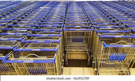 KUALA LUMPUR, MALAYSIA -JAN, 21 2017 :Close up image of Tesco shopping carts. Tesco is a British multinational grocery and general merchandise retailer.