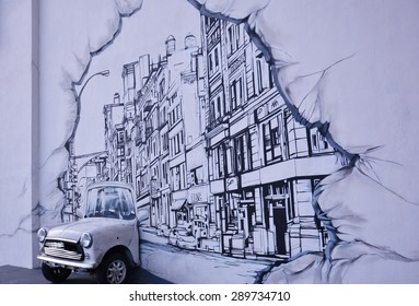 "KUALA LUMPUR, MALAYSIA - JAN 25, 2015: ""Mini Car"" 3D Mural on wall by 20 artists of Art Misfits on Jan 25, 2015 in Atmosphere building, Kuala Lumpur, Malaysia. The project was lead by Haze Long."