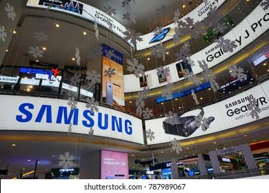 KUALA LUMPUR, MALAYSIA - Jan 6, 2018: Samsung ad in LowYat Plaza Mall in Kuala Lumpur, Malaysia. Samsung is a South Korean multinational conglomerate company.