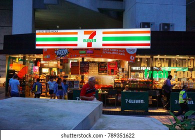 Kuala Lumpur, Malaysia - January 06, 2018: 7- Seven-Eleven is the largest convenience store chain in the world over 40,000 outlets in 16 countries.