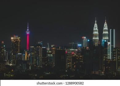 KUALA LUMPUR, MALAYSIA - JANUARY 1, 2019: Cityscape of Kuala Lumpur, Malaysia at night