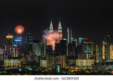 Kuala Lumpur, Malaysia - January 1 2020 : amazing and beautiful fireworks in Kuala Lumpur City, Malaysia during new year celebration