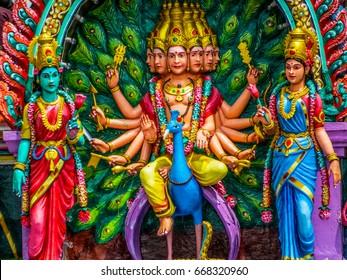 KUALA LUMPUR, MALAYSIA - JANUARY 1, 2015: Hindu Gods. Interior of the Batu Caves.