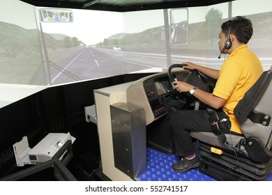 KUALA LUMPUR, MALAYSIA - JANUARY 10, 2017. A trainee do a test drive of public Rapid Bus bus simulator in Kuala Lumpur.