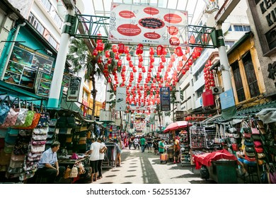 KUALA LUMPUR, MALAYSIA, JANUARY 10, 2017: Petaling Street is a old China town. The street is a long market which specializes in clothes, watches, bags, shoes and food.