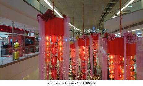 KUALA LUMPUR, MALAYSIA - JANUARY 12, 2019: Avenue K shopping mall interior with Chinese New Year decorations.