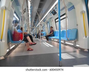KUALA LUMPUR, MALAYSIA -JANUARY 12, 2017: Interior of new Mass Rapid Transit train or known as MRT. New launch modern overhead electric train in Malaysia.