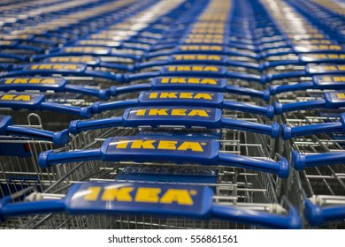 Kuala Lumpur, Malaysia - January 13, 2017: IKEA trolleys. IKEA is the world's largest furniture retailer and sells ready to assemble furniture. Founded in Sweden in 1943.