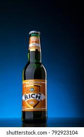 Kuala Lumpur, Malaysia - January 14 2018 : New non-alcoholic malta drink 'RICH' sold in Malaysia