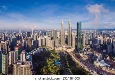 Kuala Lumpur, Malaysia - January 15, 2019 panorama of the city center, dawn, aerial photography