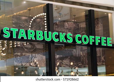 KUALA LUMPUR, MALAYSIA - JANUARY 15, 2017: Starbucks, coffee company and coffeehouse chain, founded in Seattle, Wa. USA, in 1971; now the largest business in the world operates 23,450 locations