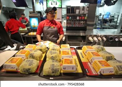 KUALA LUMPUR , MALAYSIA - JANUARY 17 , 2018: counter service in a McDonald's restaurant at Kuala Lumpur. McDonald's is an American hamburger and fast food restaurant chain.