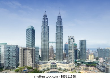 KUALA LUMPUR, MALAYSIA - JANUARY 18: Petronas Twin Towers on January 18, 2014 in Kuala Lumpur, Malaysia. Petronas Towers are twin skyscrapers and were tallest buildings in the world until 2004