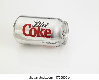 KUALA LUMPUR, MALAYSIA - JANUARY 18th, 2016,can of the diet coke on the white background