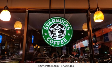 Kuala Lumpur, Malaysia - January 2017: Starbucks Corporation is an American coffee company and coffeehouse chain. Starbucks in Malaysia is operated by Berjaya Starbucks Coffee Company Sdn Bhd.