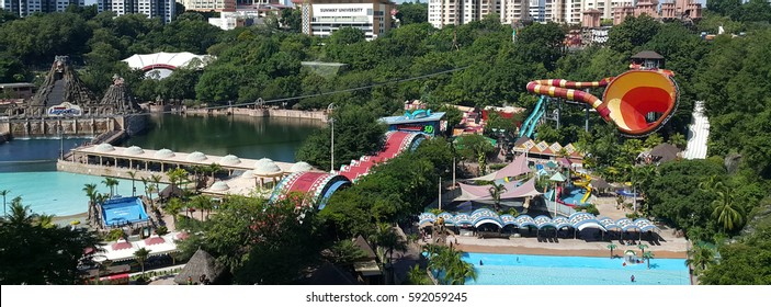 Kuala Lumpur, Malaysia - January 2017: Sunway Lagoon is a theme park in Bandar Sunway. The components are Water Park, Amusement Park, Scream Park, Nickelodeon Lost Lagoon and Wildlife Zoo.