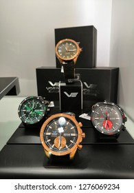 Kuala Lumpur , Malaysia - January 2019 : VOSTOK EUROPE watches brand for sale in Mitsui outlet store. Vostok Watch Makers, Inc is a Russian watchmaker based in Russia.