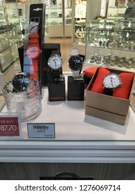 Kuala Lumpur , Malaysia - January 2019 : SUPERDRY watches brand for sale in Mitsui outlet store.Superdry plc is a UK branded clothing company, and owner of the Superdry label.