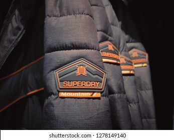 Kuala Lumpur , Malaysia - January 2019 : Closeup SUPERDRY jacket brand for sale in Mitsui outlet store.Superdry plc is a UK branded clothing company, and owner of the Superdry label.