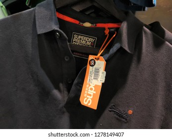 Kuala Lumpur , Malaysia - January 2019 : Closeup SUPERDRY shirts brand for sale in Mitsui outlet store.Superdry plc is a UK branded clothing company, and owner of the Superdry label.