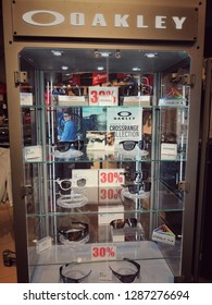 Kuala Lumpur, Malaysia - January 2019 : Oakley sunglasses display for sale at Mitsui outlet. Oakley, Inc., based in Lake Forest, California, and a subsidiary of Italian company
