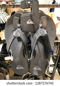 Kuala Lumpur, Malaysia - January 2019 : Quiksilver sandals for sale at Mitsui Outlet.Quiksilver is an Australian retail sporting brand.