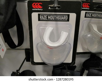 Kuala Lumpur, Malaysia - January 2019 :  Raze Mouthguard from Canterbury at Mitsui Outlet store. Canterbury makes the world's best rugby jersey, equipment, protective wear and team wear.