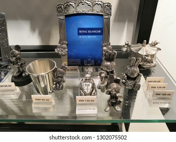 KUALA LUMPUR, MALAYSIA - JANUARY 2019 : Art and Musings of a Miniature Hobbyist made from pewter display at Mitsui Royal Selangor outlet , Malaysia.