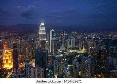 Kuala Lumpur, Malaysia. January  2019.  The panorama of the city at night