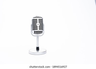 Kuala Lumpur, Malaysia - January 2021. Vintage classic microphone isolated on white background